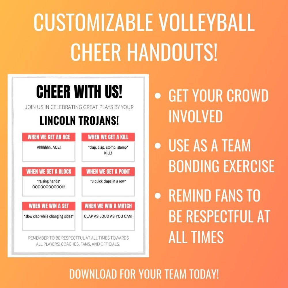 Cheer With Us Fillable Volleyball Cheers Handout Volleyball Workouts Volleyball Cheers Coaching Volleyball