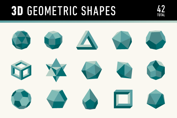3d Geometric Shapes Platonic Solid Graphics And 42