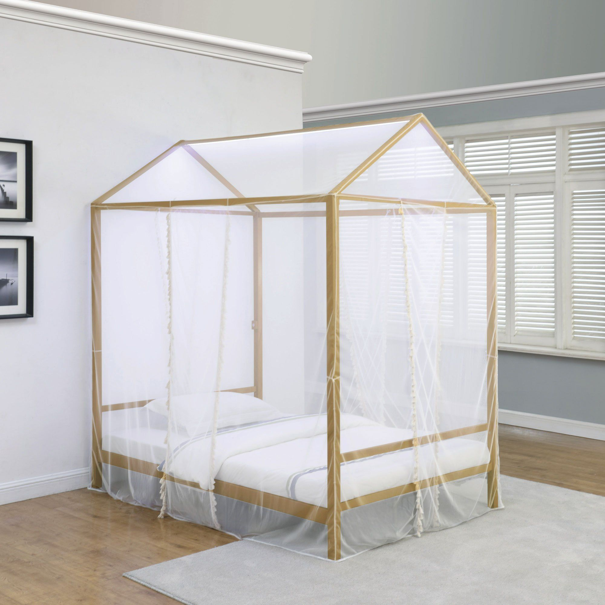 Modern Gold Twin Canopy Bed Etta Rc Willey Furniture Store Twin Canopy Bed Full Canopy Bed Canopy Bed
