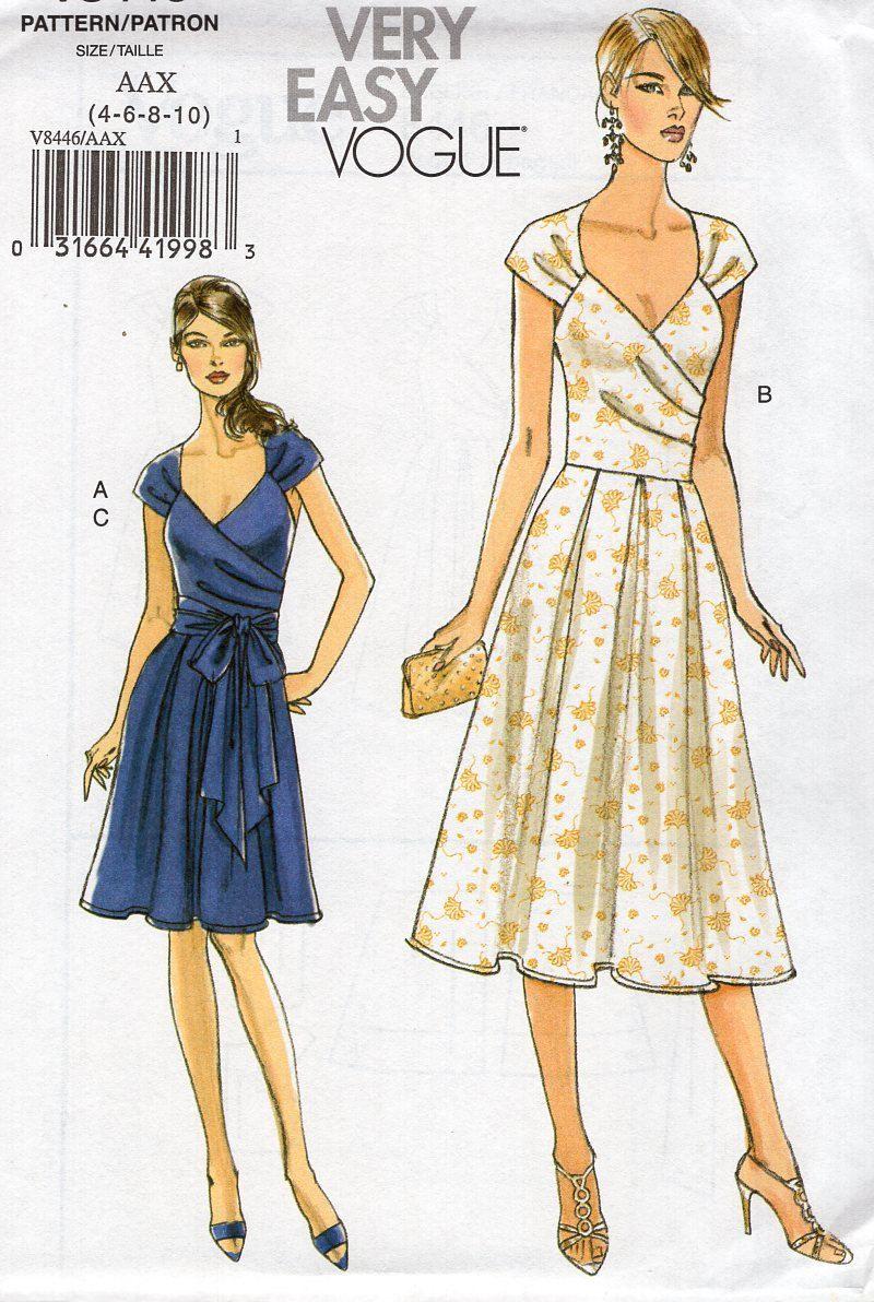 Vogue 8446 Sewing Pattern Free Us Ship Draped Dress Size 4 6 8 Etsy Dress Sewing Patterns Free Dresses Wrap Dress Sewing Patterns [ 1192 x 800 Pixel ]