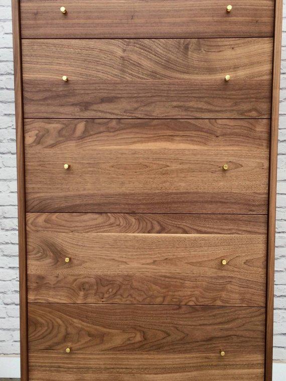 Best Solid Walnut Tall Boy Dresser Dumont Mid Century 640 x 480
