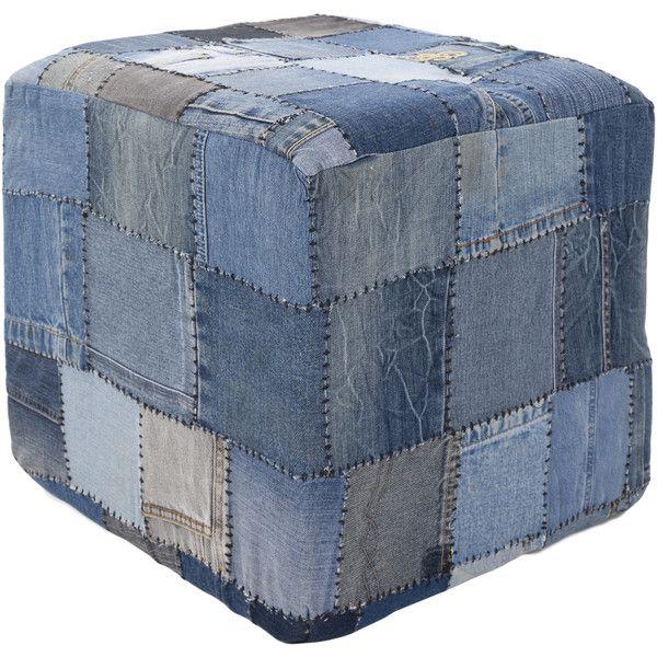 Contemporary Mandara Handmade Denim Fabric Pouf Denim Furniture Denim Decor Furniture