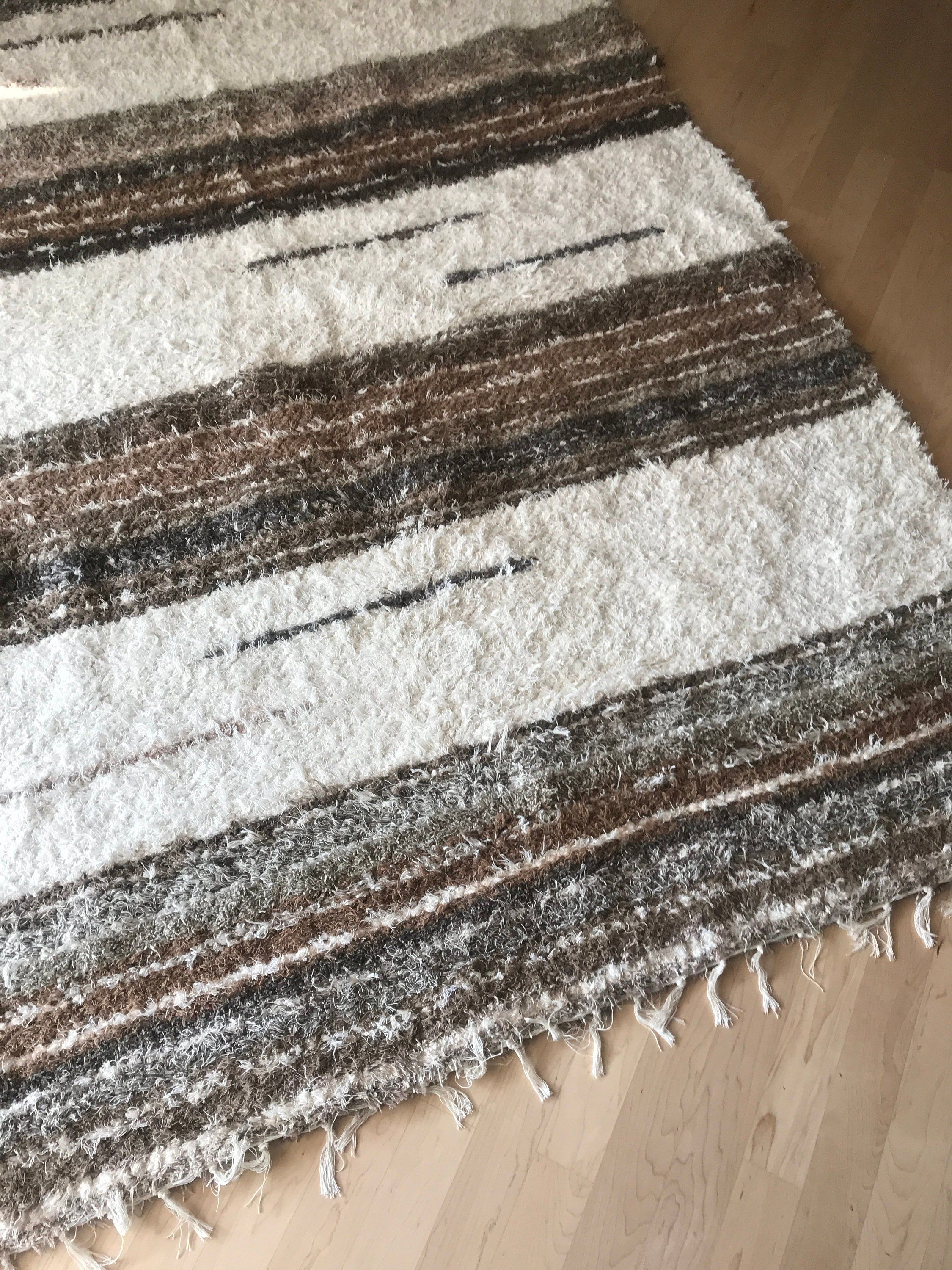 Cotton Striped Rug Handwoven Area Bohemian Rug Light Brown Beige Tones Eco Friendly Large Size Striped Rugs Colorful Striped Rug Colorful Rugs Handwoven Rugs