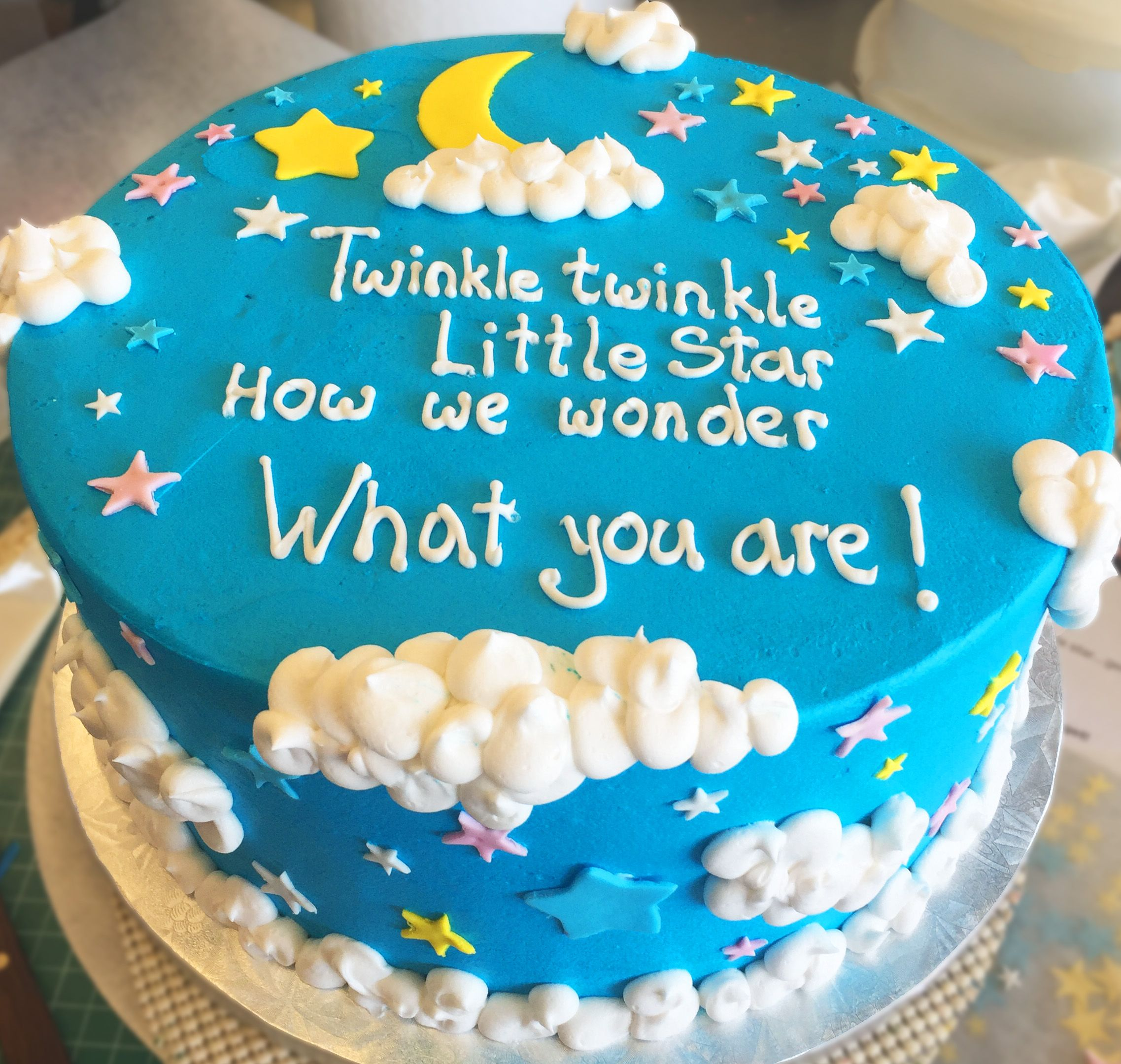 Twinkle Twinkle Little Star Gender Reveal Cake Cake 024