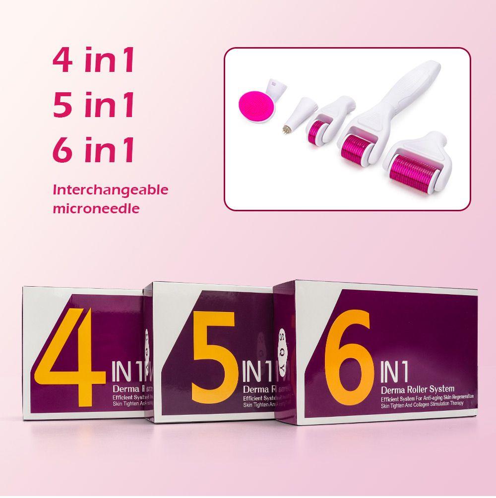 456 in 1 derma roller kit micro needles titanium