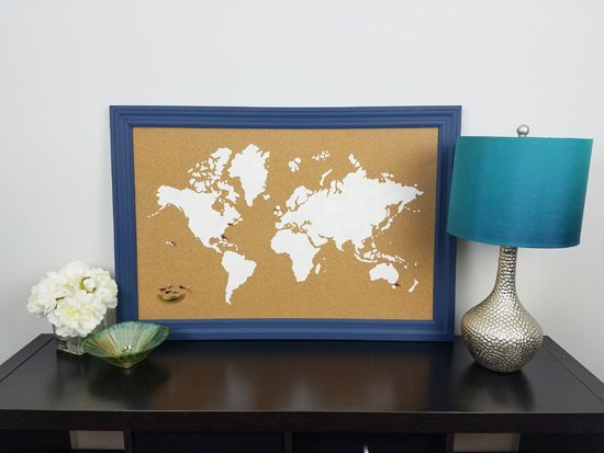 How to stencil a cork board using the world map pattern cork a diy stenciled cork board using the world map wall art stencil from cutting edge stencils gumiabroncs Image collections