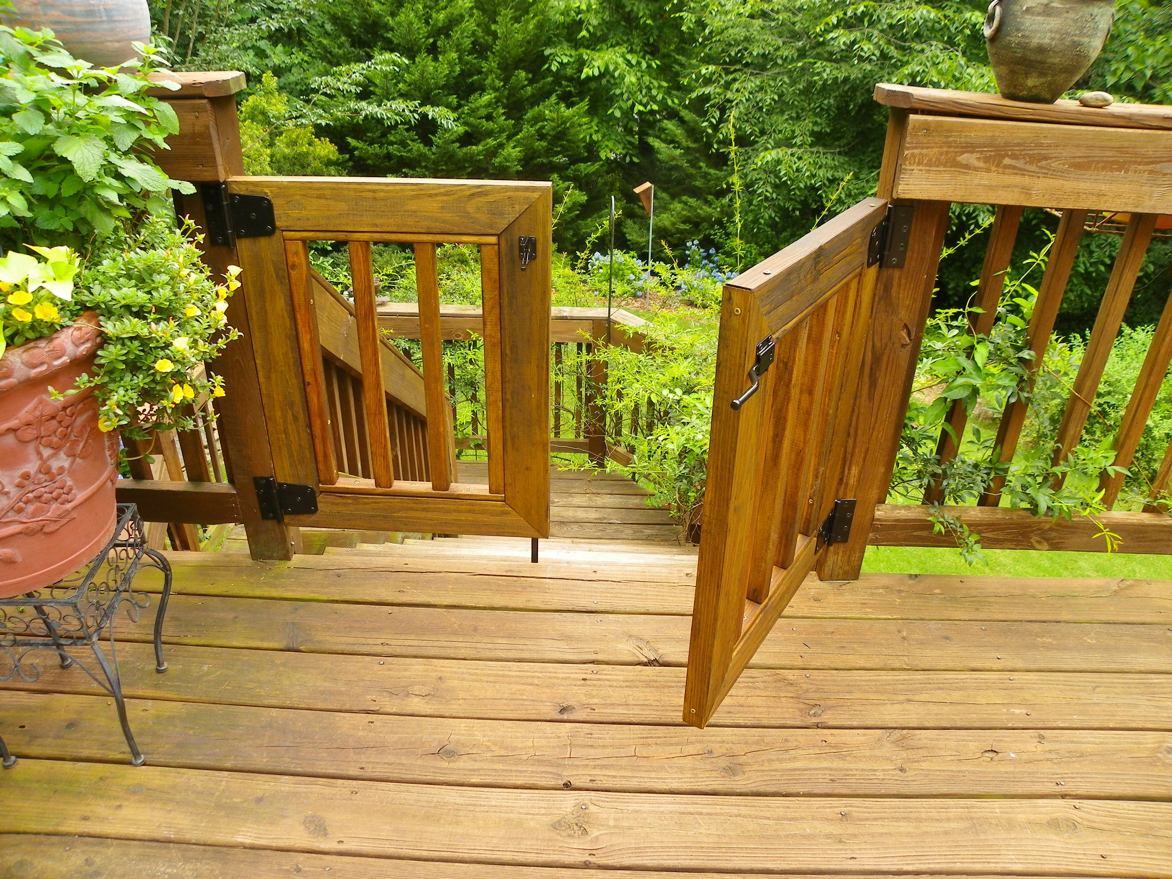 Double Hung Gates In My Deck Opening Gate With The Strike Bar