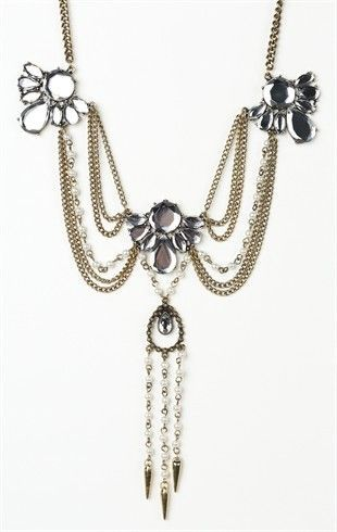 Layered Statement Necklace with Crystal Flower Accents
