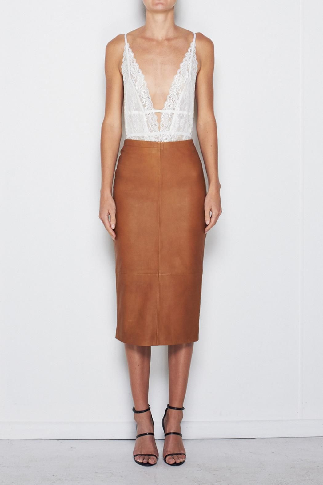 MLM The Label Camel Leather Skirt