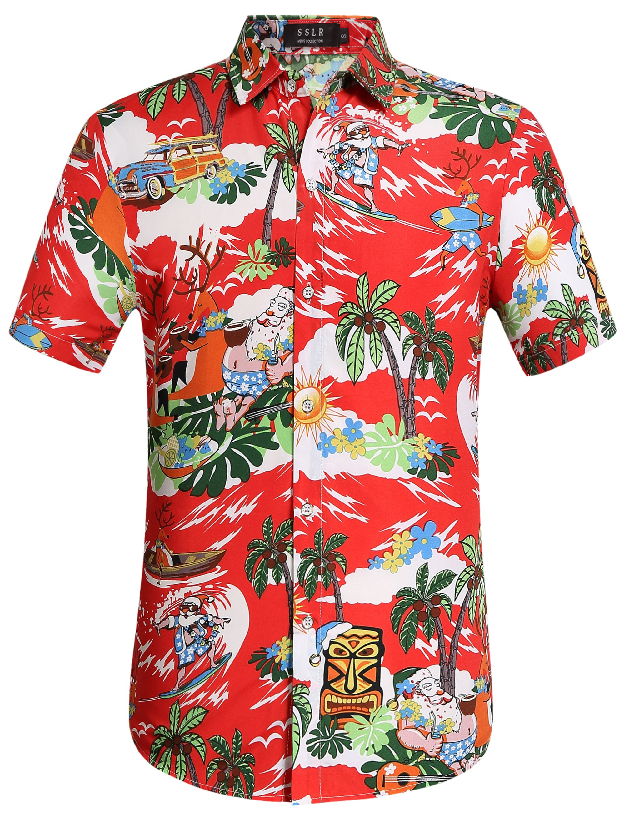 7ae062a4 SSLR Men's Christmas Santa Claus Party Casual Tropical Hawaiian Shirt