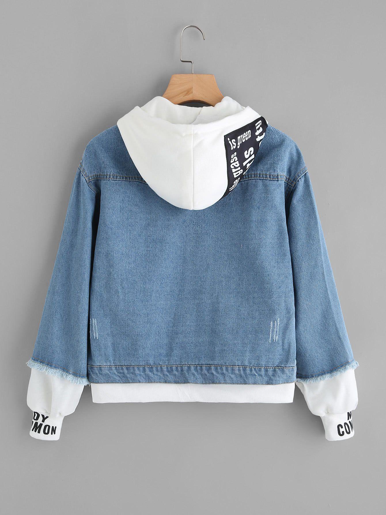 2 In 1 Ribbed Knit Trim Hooded Denim Jacket In 2020 Diy Denim Jacket Hooded Denim Jacket Blue Jackets Outfits [ 1785 x 1340 Pixel ]