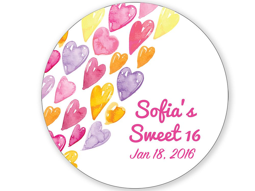 Personalized water color hearts round labels 0 75 for hershey kisses