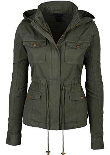 847856c7 Buy Womens Green Fashion Pocket Utility Jacket with Collar and Removable  Hood Large and other Coats, Jackets & Vests at Amazon.com.