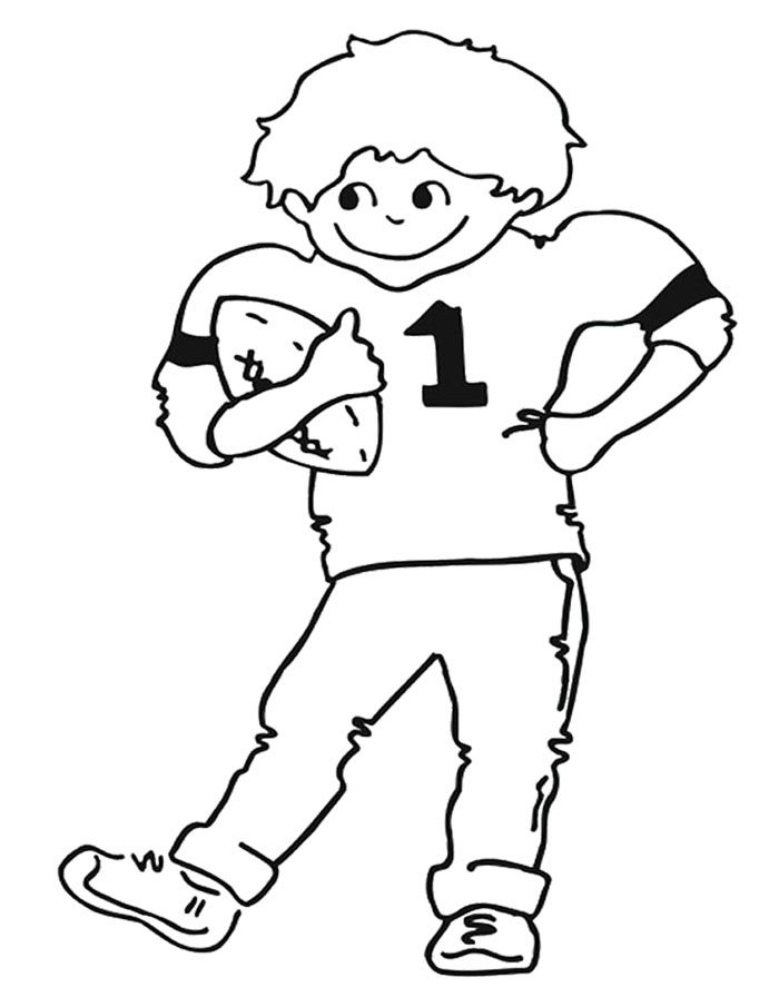 The Child Happy Football Coloring Page | Kids Coloring Pages ...