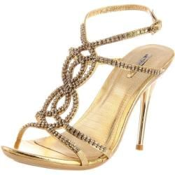 @Overstock - Rhinestone encrusted straps create an elegant, retro-stylized upper on these gold sandals and end in a buckled ankle strap. A 4-inch stiletto heel and 1.25-inch platform punctuate these stunning sandals.http://www.overstock.com/Clothing-Shoes/Celeste-Womens-Ocean-11-Gold-Rhinestone-Sandals/6731743/product.html?CID=214117 $64.99