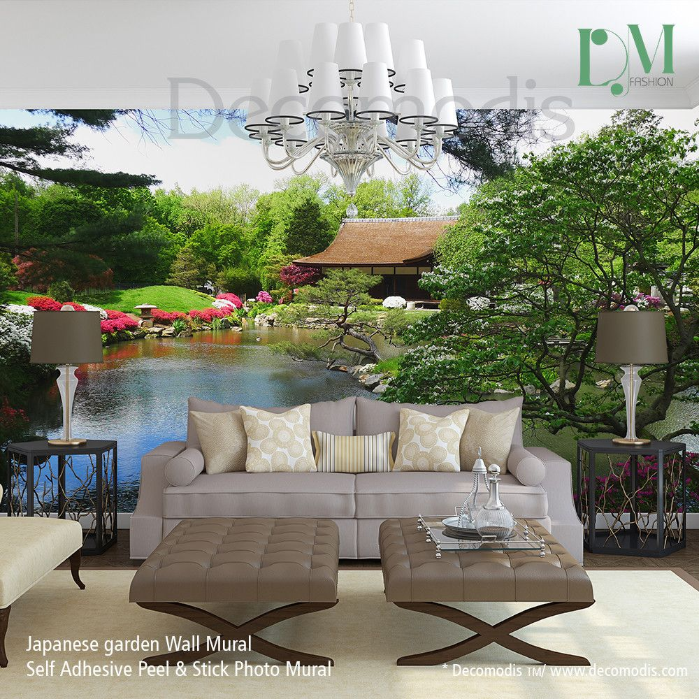 Japanese Garden Wall Mural, Photo Mural Japanese Tea House With Flowers  Self Adhesive Peel Part 82