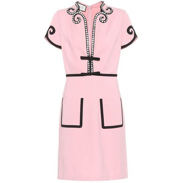 9e5fd196782 Gucci Embellished Jersey Dress (€1.875) ❤ liked on Polyvore featuring  dresses, pink, pink embellished dress, gucci, pink jersey, pink jersey dress  and ...