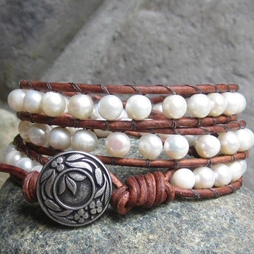 Freshwater pearl rustic brown leather 3-wrap bracelet silver clasp