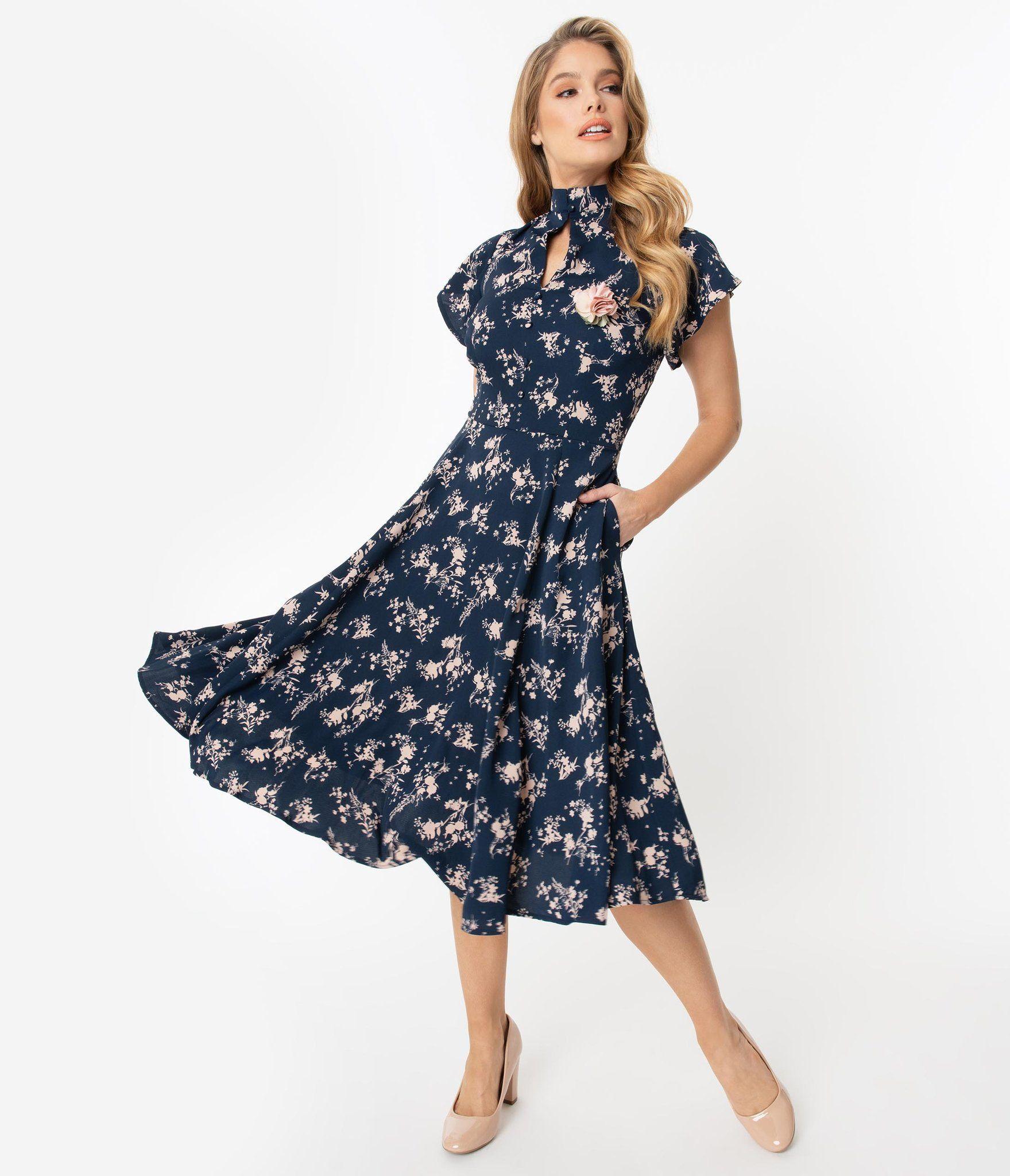 Unique Vintage 1950s Navy Pink Floral Baltimore Swing Dress In 2020 Swing Dress Vintage Floral Dress Vintage Inspired Dresses
