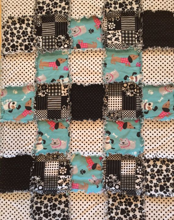 26 X 36 Turquoise Blue Black And White Dog Themed By Whendoxiesfly