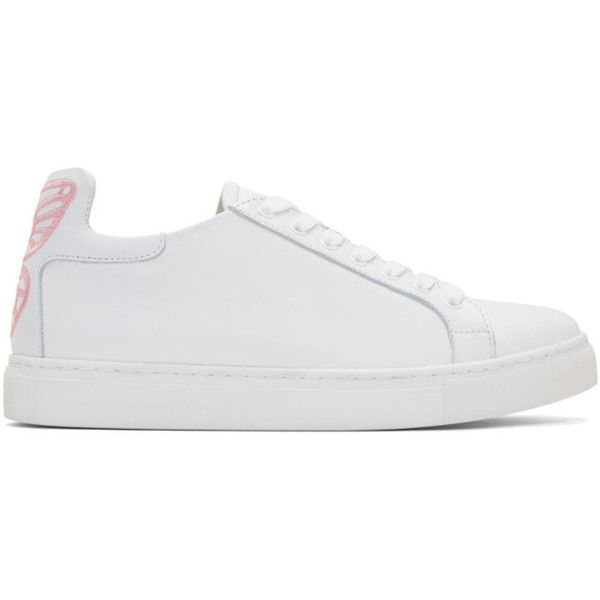 Sophia Webster White and Pink Bibi Butterfly Sneakers ($390) ❤ liked on Polyvore featuring shoes, sneakers, white, lace up shoes, butterfly shoes, laced up shoes, white low top sneakers and butterfly sneakers