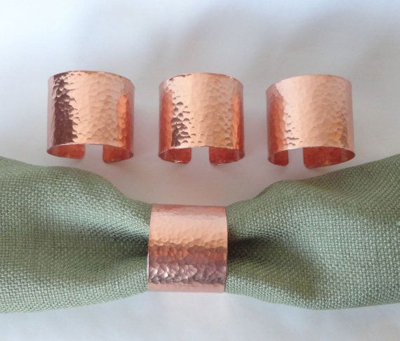 Napkin Rings Hammered Copper Set Of 4 On Etsy 28 00