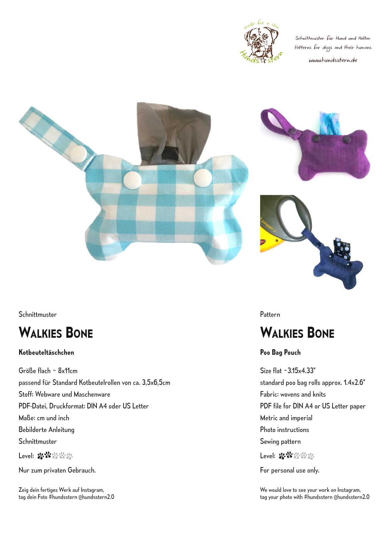 Photo of Walkies Bone Kotbeuteltasche Nähanleitung+Schnitt