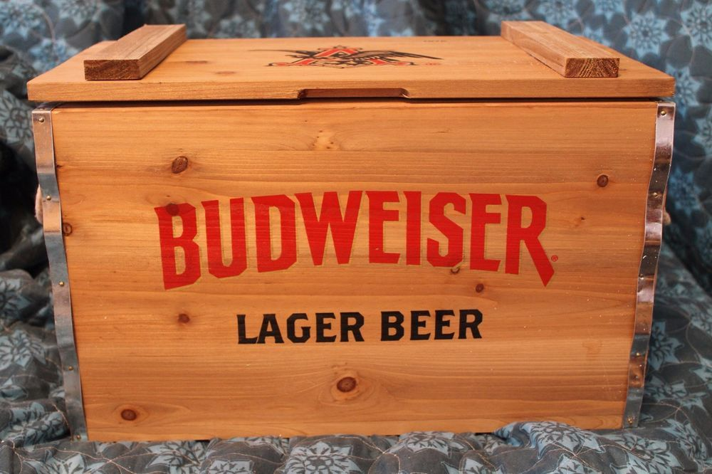 Authentic Budweiser Lager Beer Wooden Crate With A Metal Interior