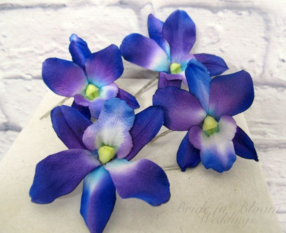 Wedding Hair Accessories Blue Purple Dendrobium Orchid Bobby Pins Set Of 4 Bridal Hair Flowers Orchid Hair Pins Bridal Flower Hair Pins Bridal Hair Flowers