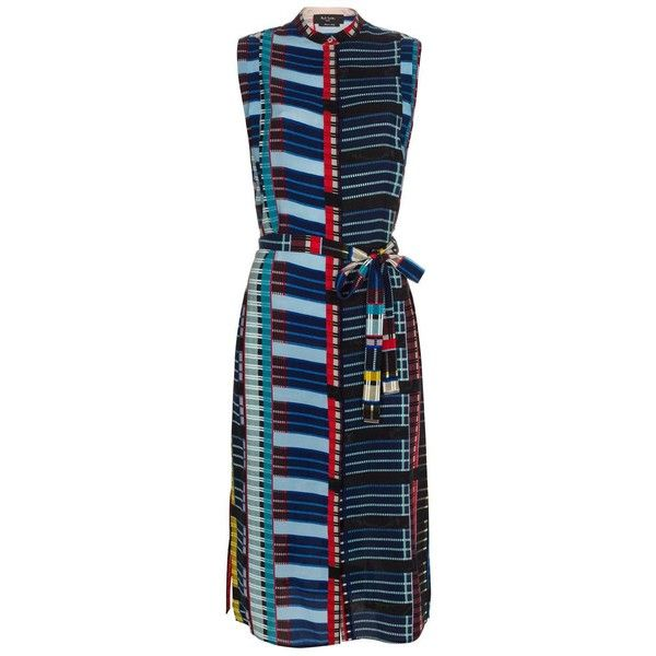 Paul Smith Women's Sleeveless Silk 'Multi-Check' Print Dress (28,820 PHP) ❤ liked on Polyvore featuring dresses, blue sleeveless dress, blue checkered dress, checked dress, layered dress and full length dress