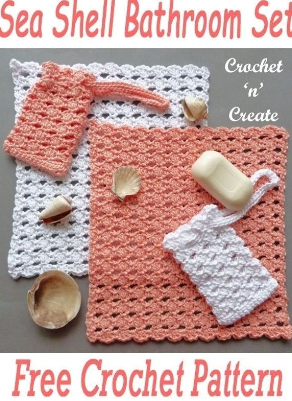 Sea Shell Bathroom Set Free crochet Pattern
