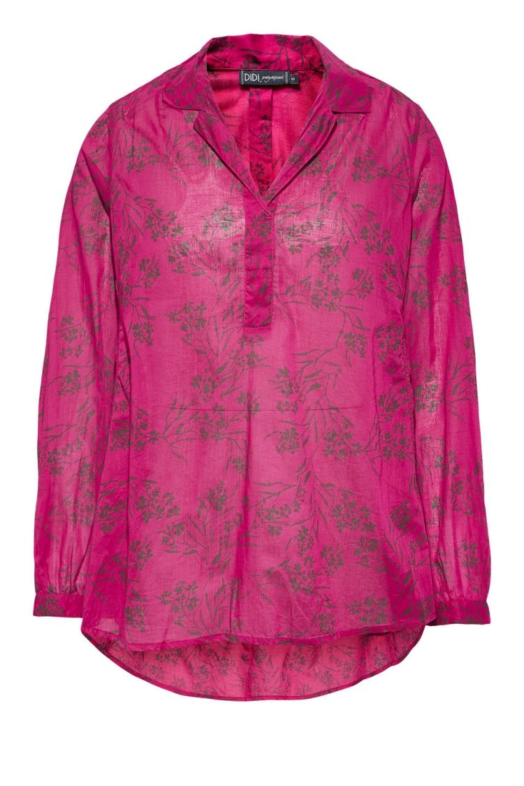 cd9af34006b223 Luchtige blouse met all-over print Fuchsia