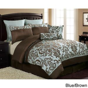 Light Blue And Brown Bedding New 8pc Blue And Brown