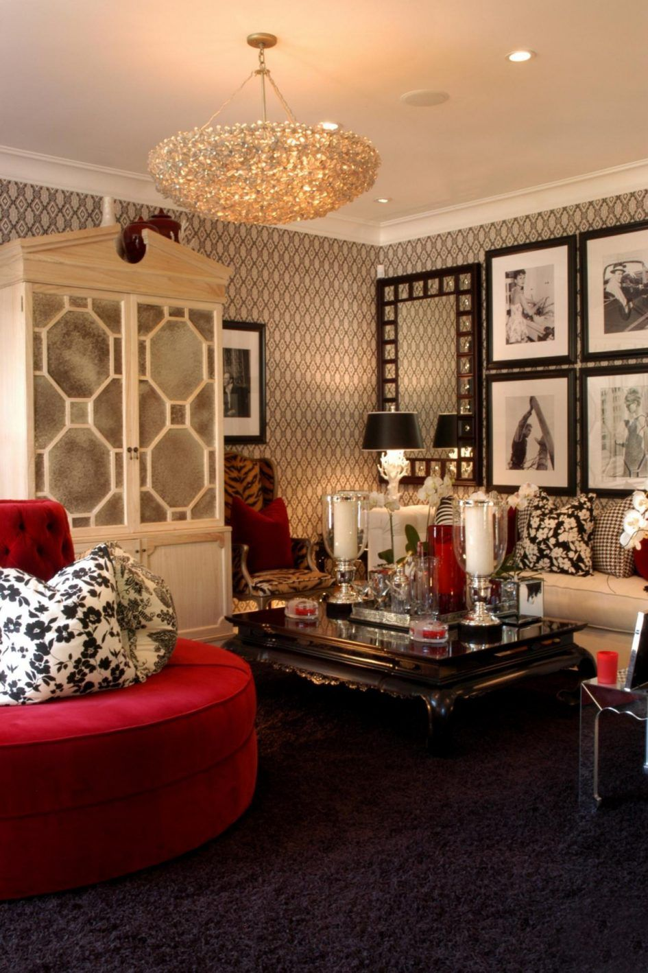 Furniture Hollywood Regency Decor With Red Sofa And Chandelier