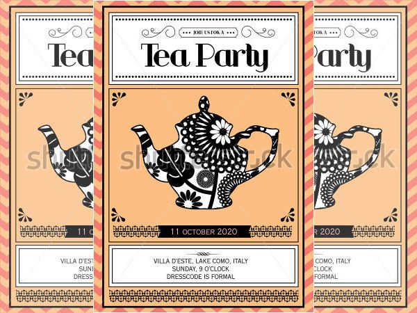 Tea Party Invitation Template   Free Psd Eps Indesign Format