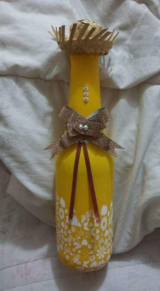Garrafa Encapada Bal u00e3o para Festa Junina garrafas decoradas Pinterest
