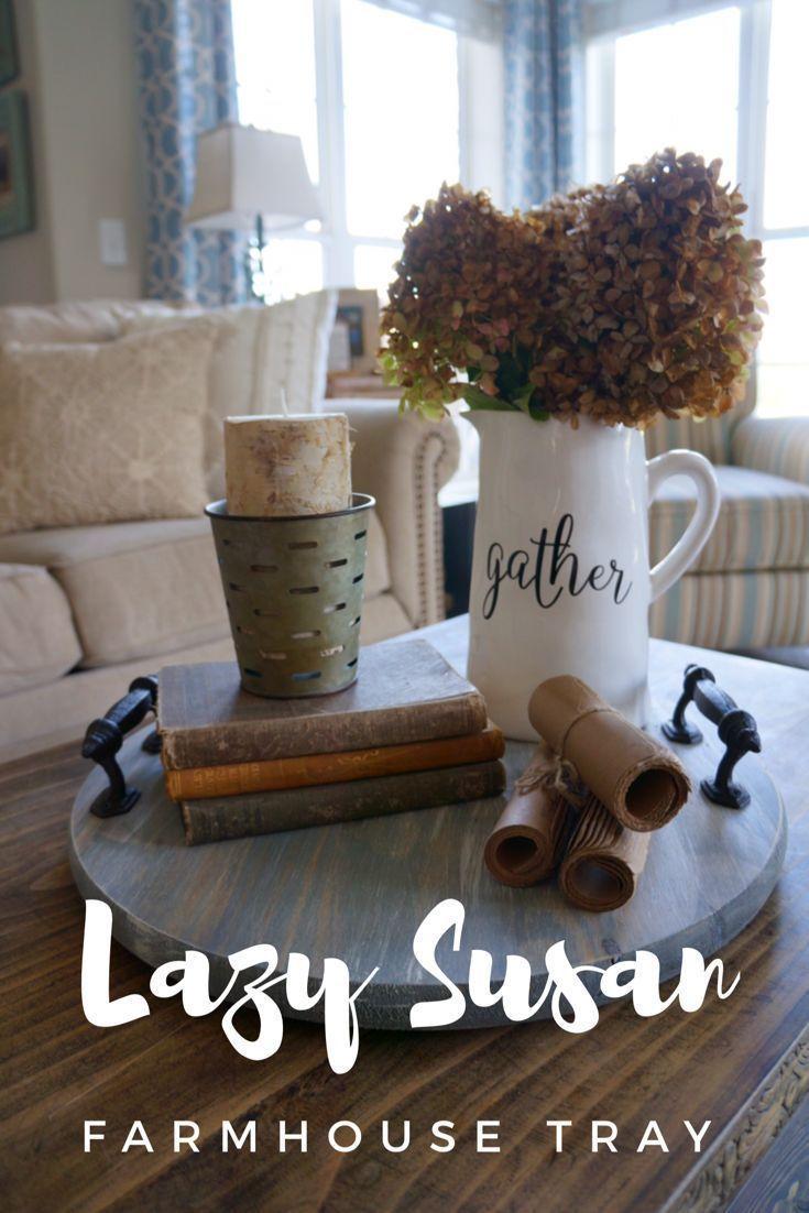 Lazy Susan Farmhouse Tray. Gray driftwood finish. Dining