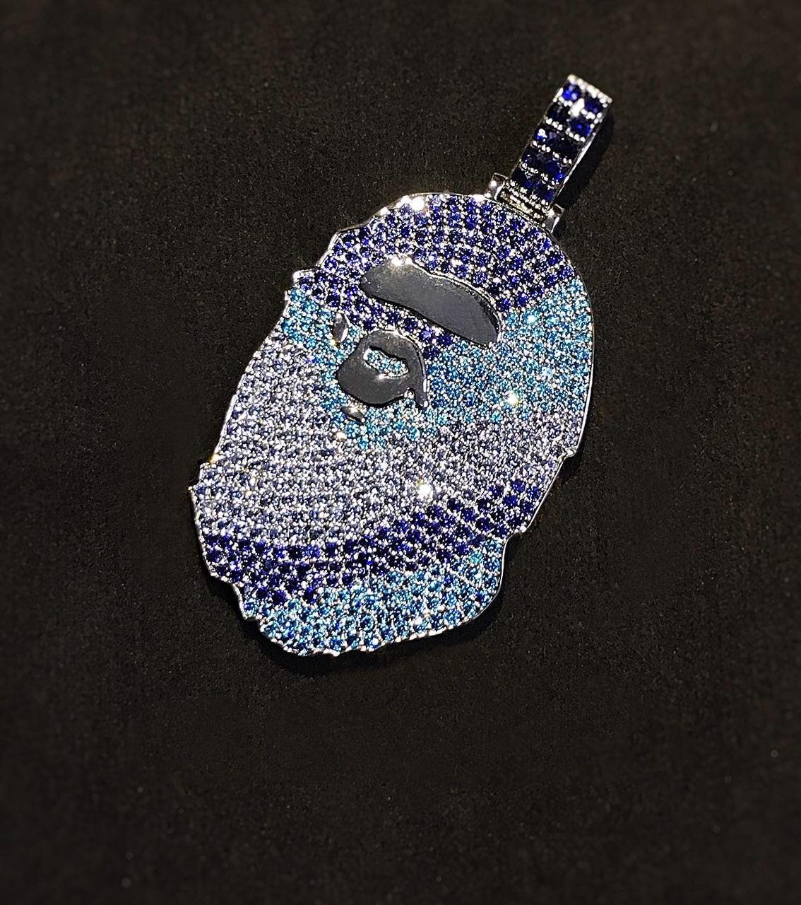 Bape Head Necklace Pendant Chain Micro Pave Setting With Multicolor Diamonds In Blue Camo Just Like The Bape Ca Jesus Piece Custom Jewelry Personalized Jewelry