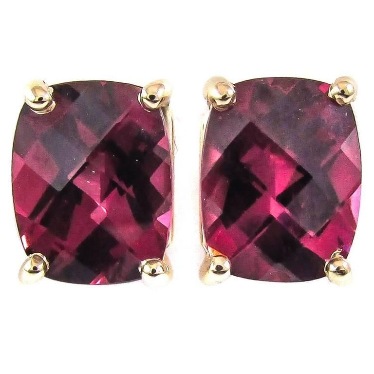Rhodolite Garnet Gold Stud Earrings 1stdibscom HIGH JEWELRY