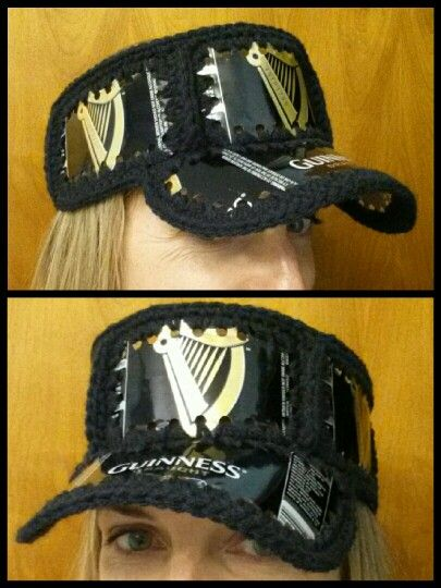 e0a239fd8fc Crocheted beer can hat (visor). Fishlips the Mad Hatter on Facebook ...