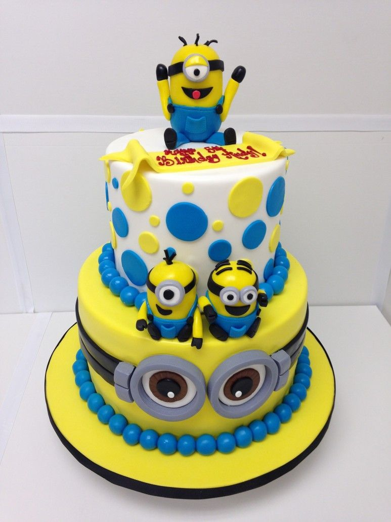 Astounding Despicable Me Minions Two Tier Minion Birthday Cake Birthday Funny Birthday Cards Online Fluifree Goldxyz