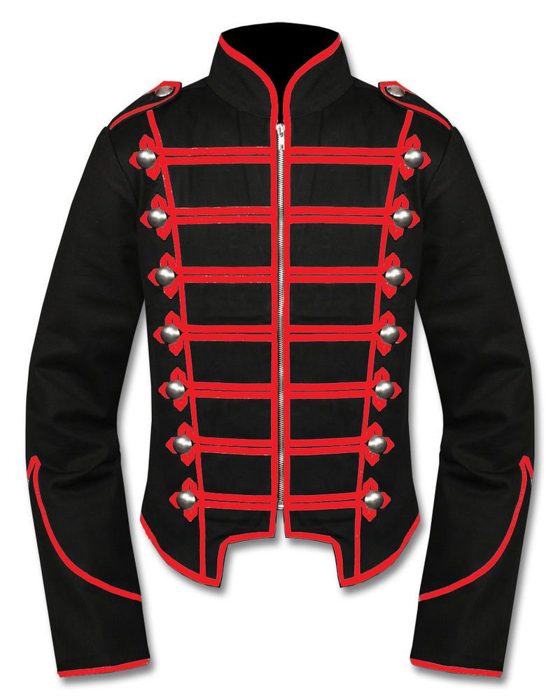a92e199f91 Handmade Men Black Red Military Marching Band Drummer Jacket Gothic New  Style  Handmade  Military