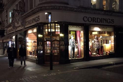 http://chicerman.com  doublemonk:  An oldie but a goodie. Eric Claptons own Cordings outfitter on Piccadilly.  Famous for their corduroy trousers and covert coats.  #menshoes
