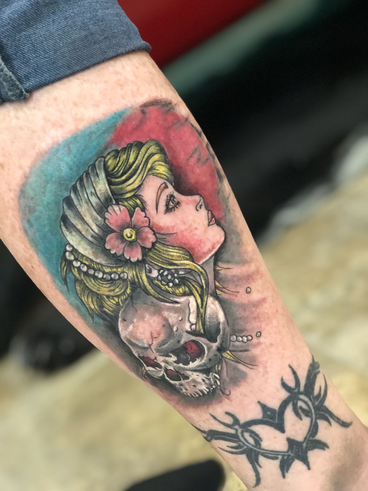 Lady head and skull tattooed by brian stabile tattoos