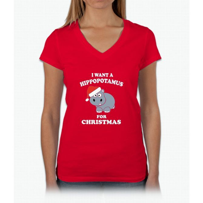 I Want A Hippopotamus For Christmas Tshirt Womens V-Neck T-Shirt
