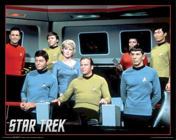 Star Trek Tos Bridge Cast 16x20 Tv Poster Original Series Spock