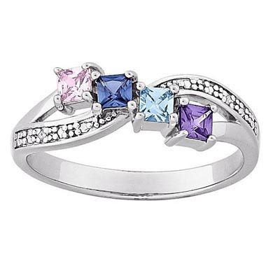 Zales Mothers Princess-Cut Simulated Birthstone Ring in Sterling Silver and 14K Gold (3 Stones) M7VAPPx