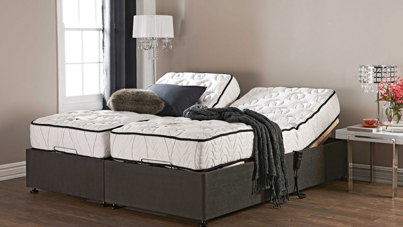 Mattress Split King Adjustable Bed Frame With Nightstand