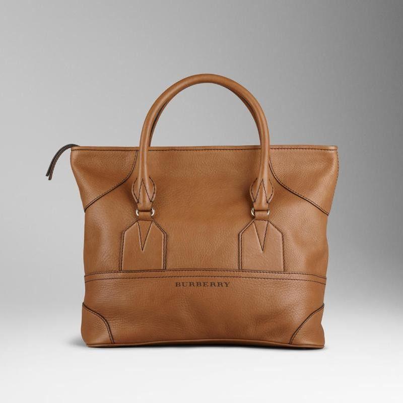 Burberry 37974301 Medium Leather Tote Bag Brown Designer Handbags For Less 0365c08bd825c