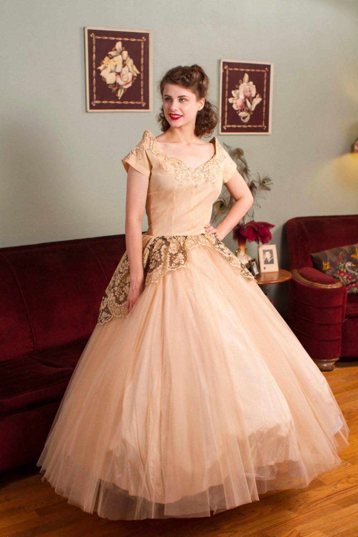 Peaches geldof wedding dress  Vintage s Gown s Gorgeous Pale Golden Peach by FabGabs  My